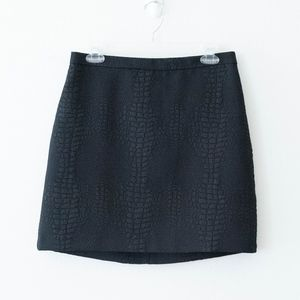 French Connection Croc Luxe Black Mini Skirt Sz 8